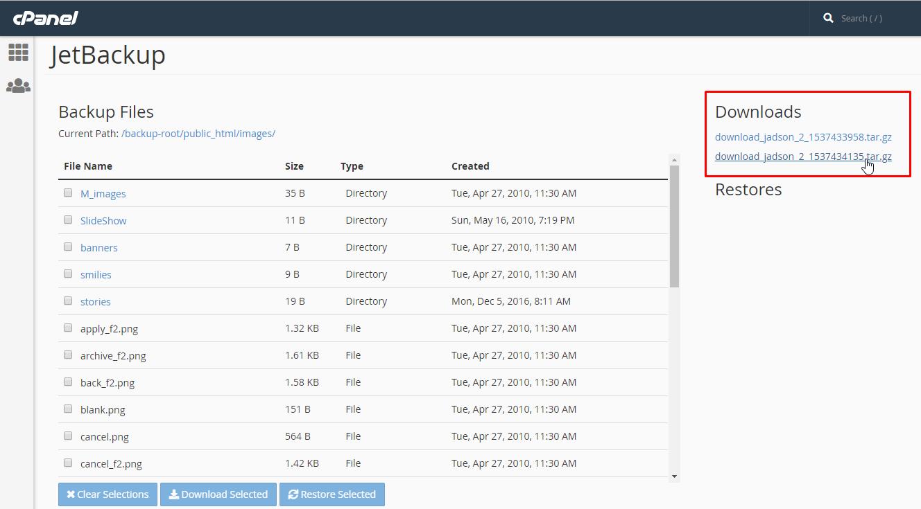 גיבוי קבצים או תיקיות של אתר האינטרנט בפאנל ניהול אחסון האתר