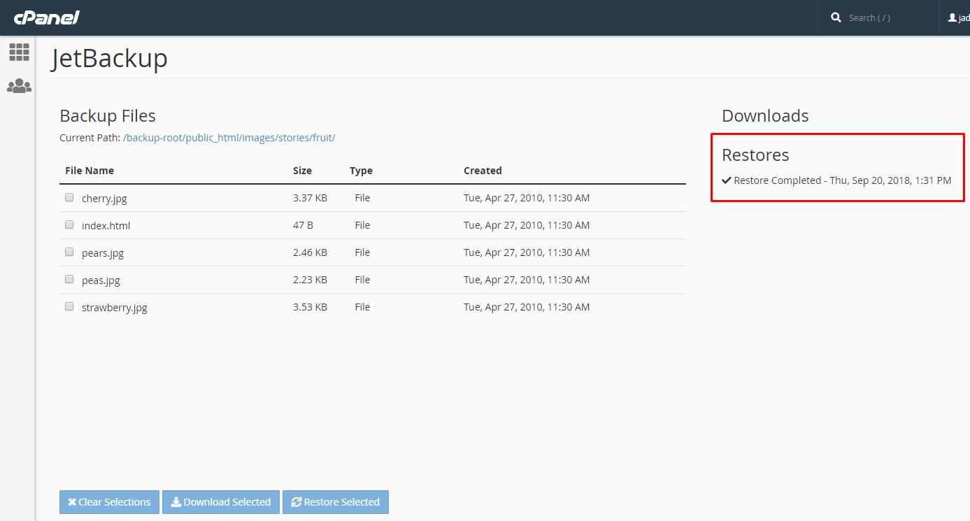 שחזור קבצים או תיקיות של אתר האינטרנט מתוך פאנל ניהול אחסון האתר