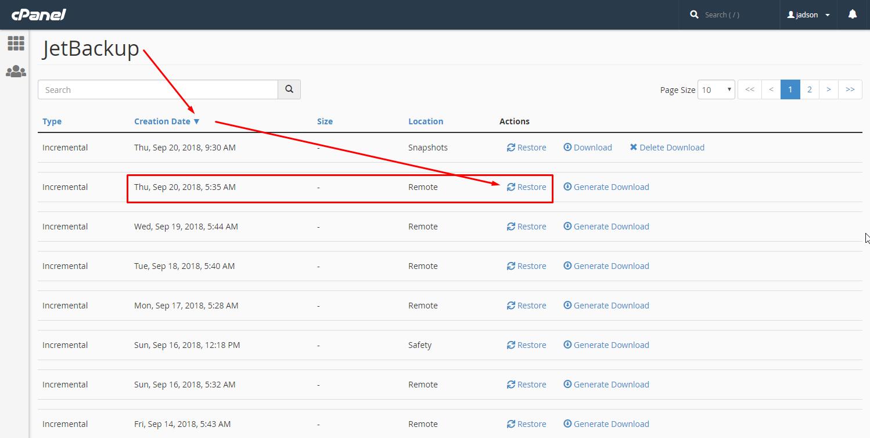 שחזור חשבון אחסון האתר באמצעות מערכת JetBackup