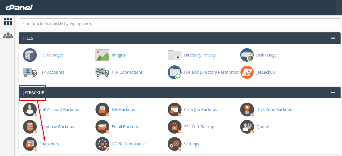 הורדת גיבוי של כל חשבון אחסון האתר באמצעות Snapshots
