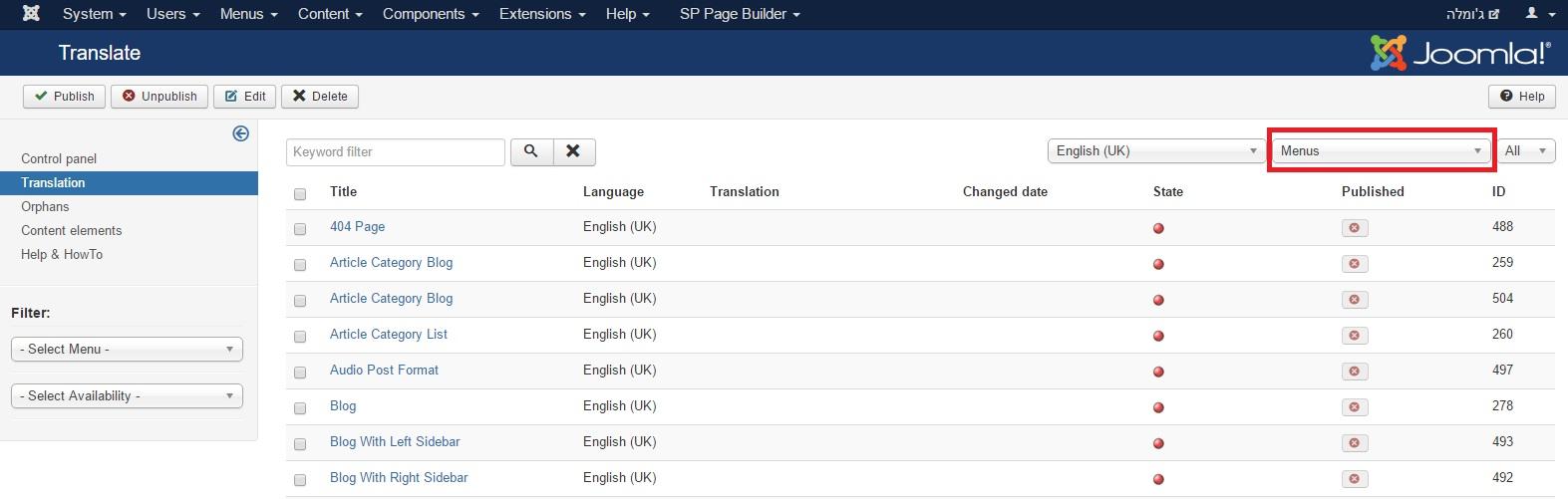 תרגום תכנים בג'ומלה באמצעות FaLang