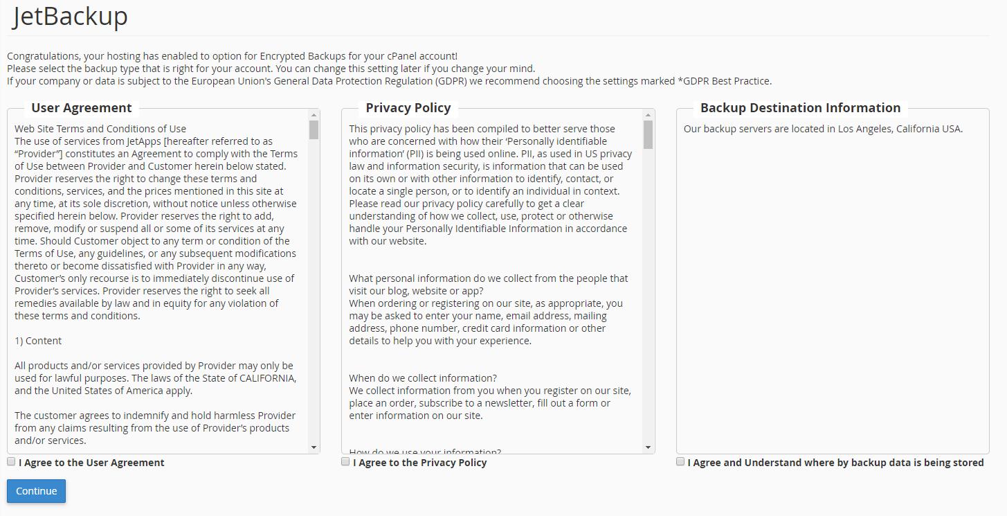 הסכמת לקוח לתנאי ה- GDPR של JetBackup מתוך cPanel