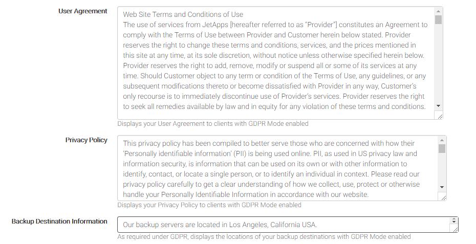 הסכם שימוש, מדיניות פרטיות ומיקום שמירת המידע בגיבוי
