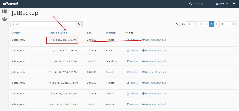 גיבוי בסיסי נתונים באמצעות JetBackup