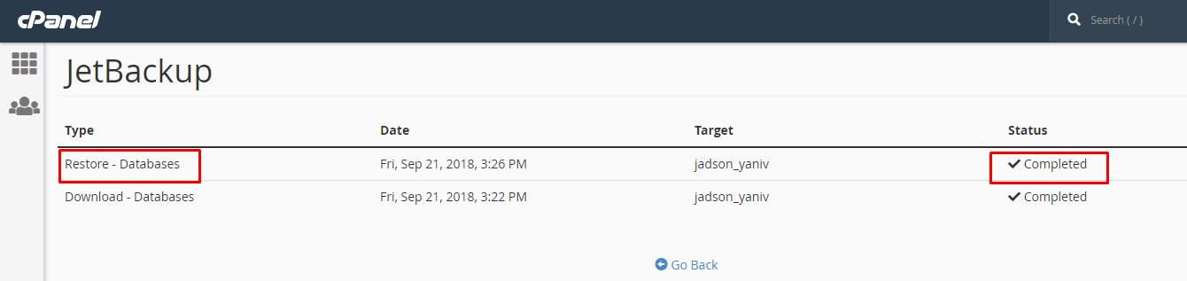 שחזור בסיס נתונים באמצעות JetBackup