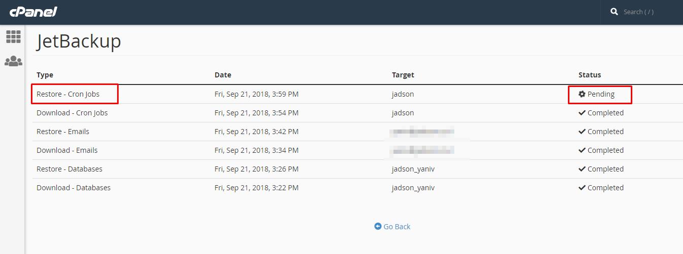 שחזור Cron Jobs עם JetBackup