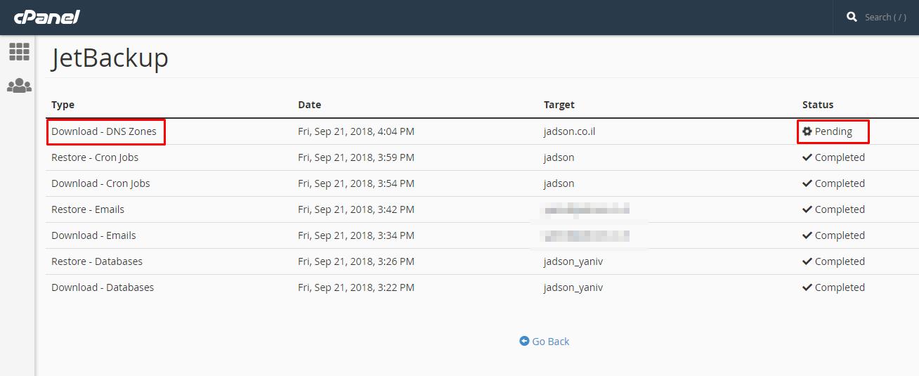 גיבוי הגדרות DNS Zone פאנל ניהול אחסון האתר